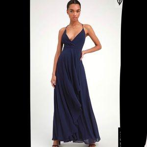 Lulus Love Forever Navy Blue Backless Maxi Dress